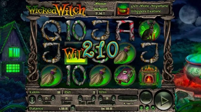 Wicked Witch :: A 210 coin jackpot win