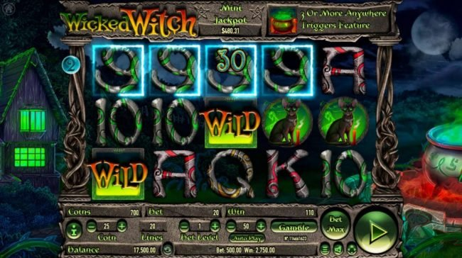 Vive Mon Casino featuring the Video Slots Wicked Witch with a maximum payout of $250,000