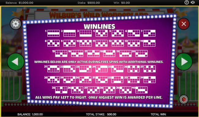 Wilbur's Wild Wonderland :: Paylines 1-20
