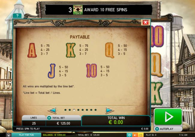 Diamond 7 featuring the Video Slots Wild Bandits with a maximum payout of $250,000