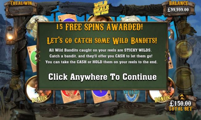 Dream Vegas featuring the Video Slots Wild Bandits with a maximum payout of $250,000
