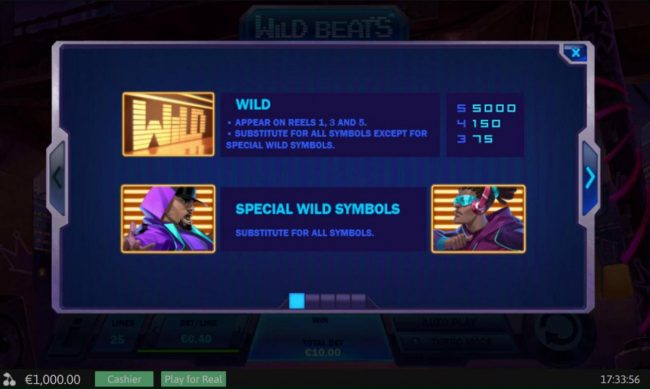 Swiss Casino featuring the Video Slots Wild Beats with a maximum payout of $20,000