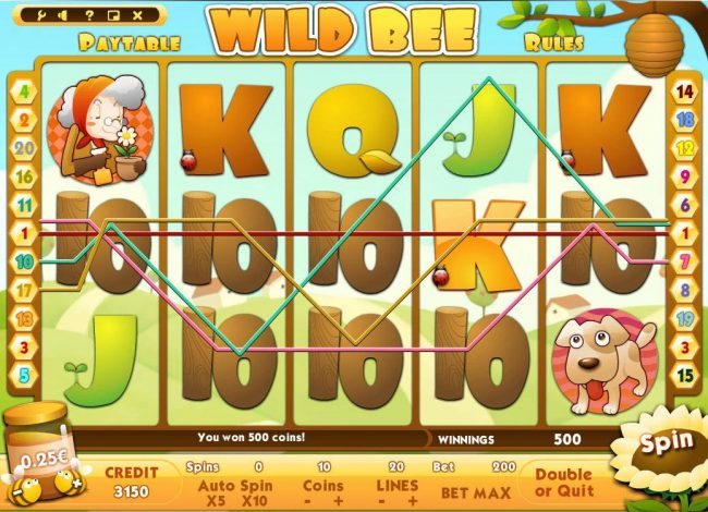 10Bet featuring the Video Slots Wild Bee with a maximum payout of $500,000