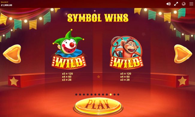 Clover Casino featuring the Video Slots Wild Circus with a maximum payout of $400,000