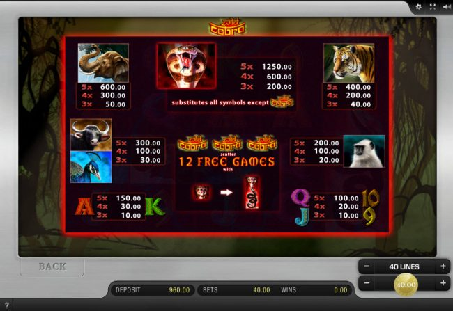 Play slots at Energy: Energy featuring the Video Slots Wild Cobra with a maximum payout of $50,000