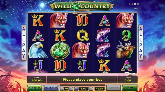 Play slots at Energy: Energy featuring the Video Slots Wild Country with a maximum payout of $40,000