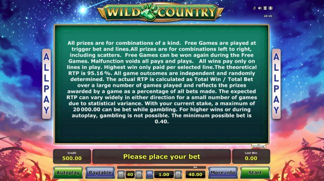 Wild Country :: General Game Rules