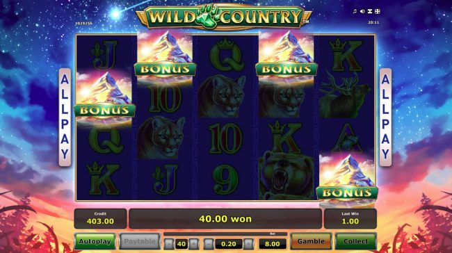 Wild Country :: Scatter win triggers the free spins feature