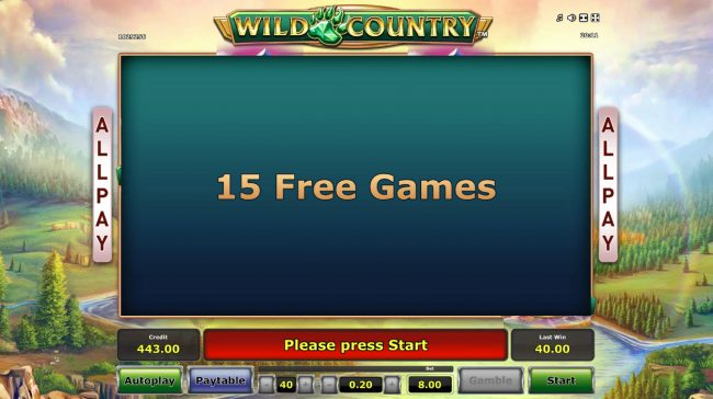 Wild Country :: 15 free games awarded
