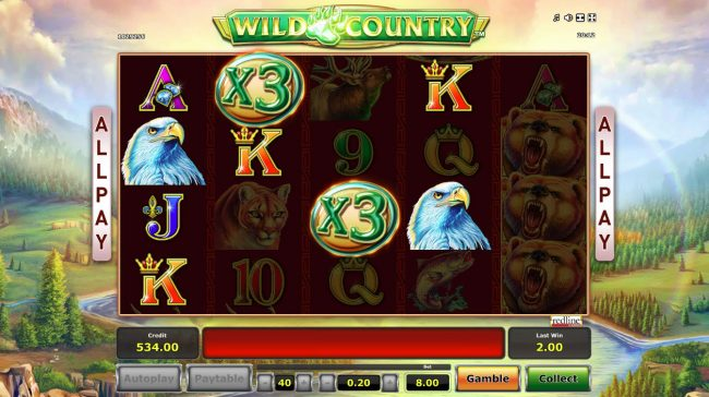 Wild Country :: Multiple winning paylines triggers a big win