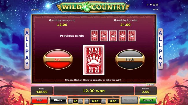Wild Country :: Red or Black Gamble feature