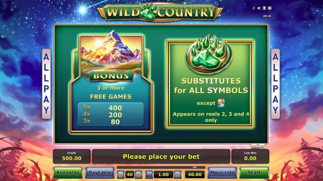 Wild Country :: Wild and Scatter Symbol Rules