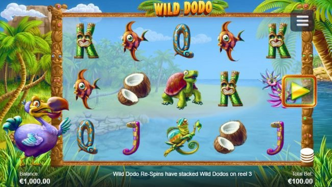 Wild Dodo :: Main game board featuring five reels and 20 paylines with a $100,000 max payout.