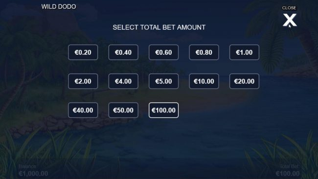 Wild Dodo :: Select Total Bet Amount