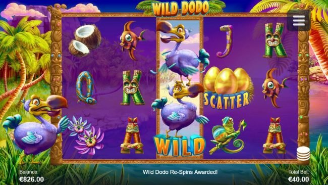 Wild Dodo :: Wild Dodo Re-Spins activated when Dodo Wild symbol lands on the middle reel