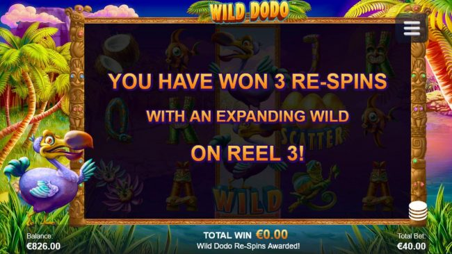 Wild Dodo :: Player awarded 3 re-spins with expanding wild on reel 3
