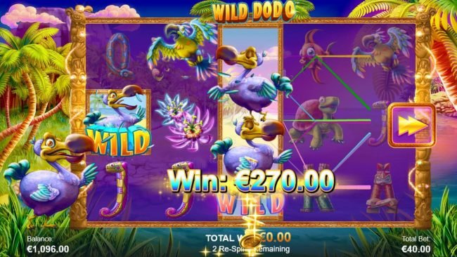 Wild Dodo :: Re-spin triggers a 270 coin payout