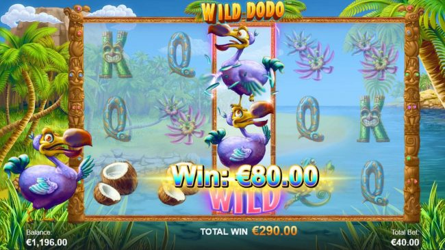 Wild Dodo :: A pair of winning paylines triggers an 80 coin win