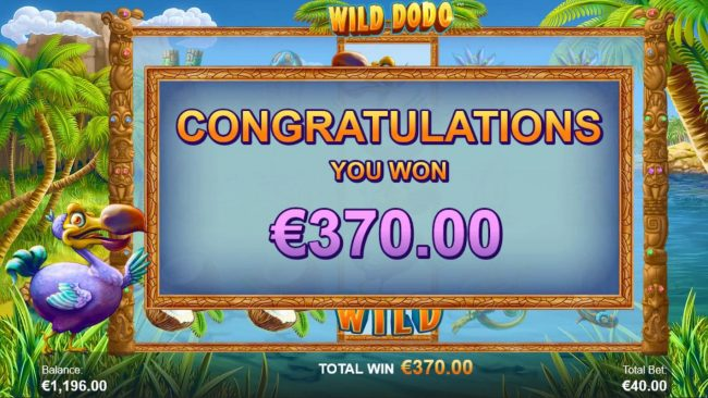 Wild Dodo :: Re-spin feature pays out a total of 370 coins