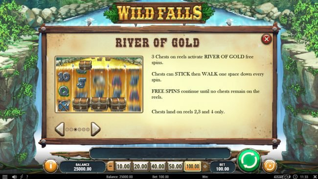 Go Wild featuring the Video Slots Wild Falls with a maximum payout of $50,000