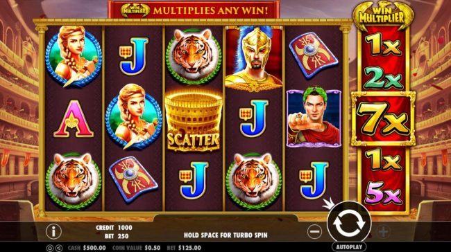 Crystal Casino Club featuring the Video Slots Wild Gladiators with a maximum payout of $500,000
