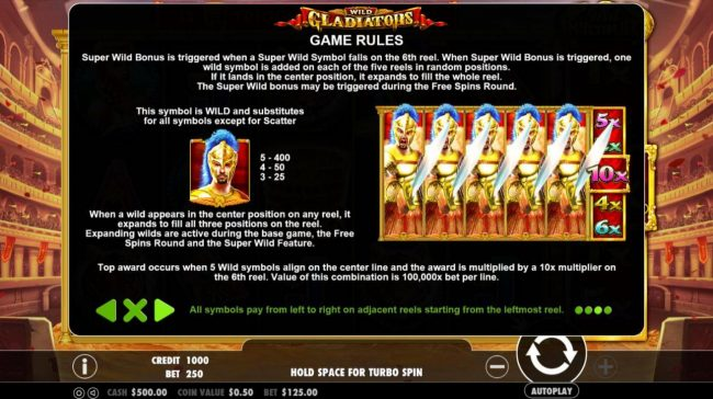Spiral featuring the Video Slots Wild Gladiators with a maximum payout of $500,000