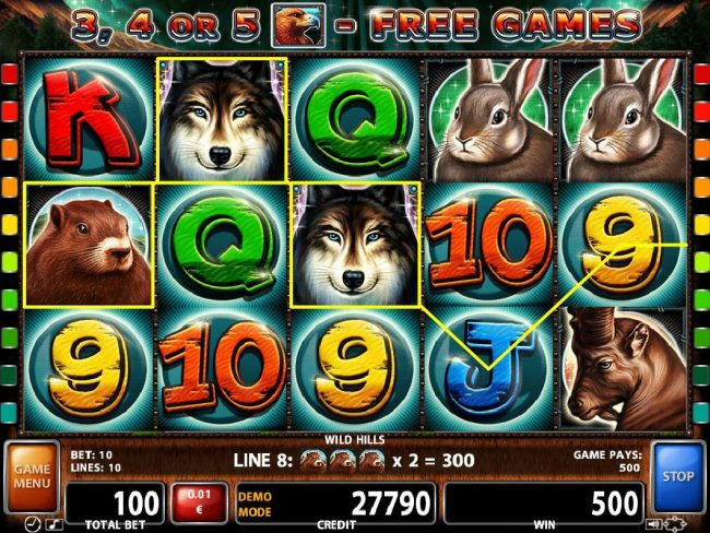 ZigZag777 featuring the Video Slots Wild Hills with a maximum payout of $500,000