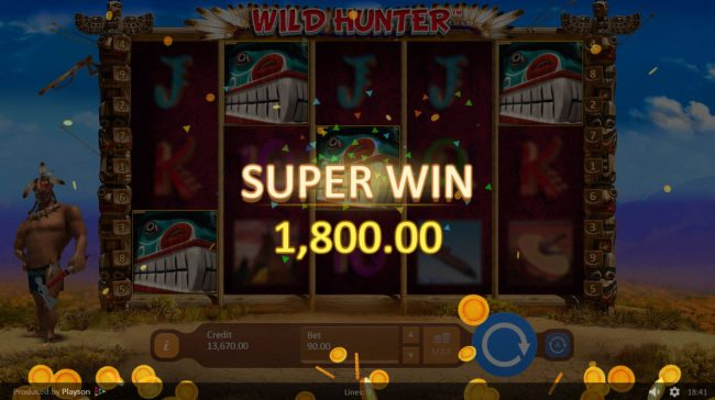 Magik Slots featuring the Video Slots Wild Hunter with a maximum payout of $50,000