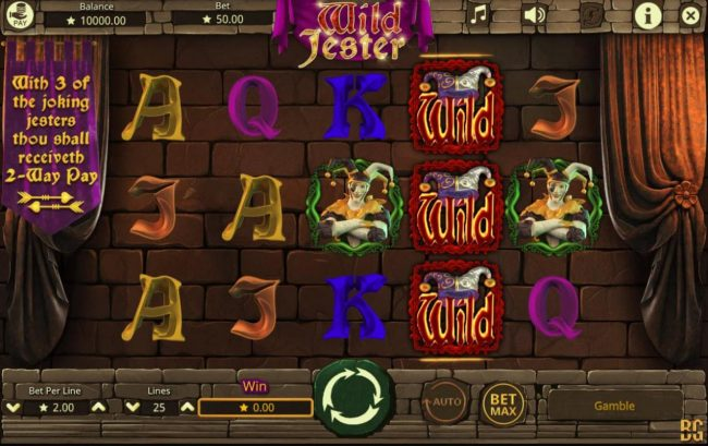 ZigZag777 featuring the Video Slots Wild Jester with a maximum payout of $20,000