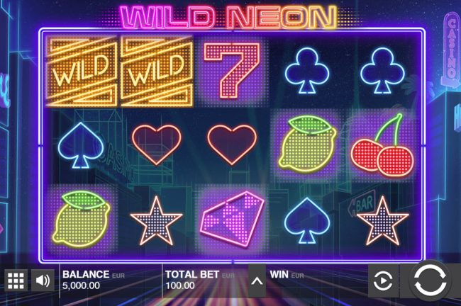 Yako Casino featuring the Video Slots Wild Neon with a maximum payout of $50,000
