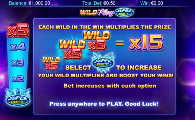 Play slots at Casino-X: Casino-X featuring the Video Slots Wild Play Super Bet with a maximum payout of $16,375