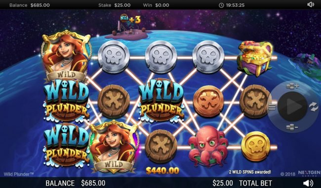 Casino 440 featuring the Video Slots Wild Plunder with a maximum payout of $250,000