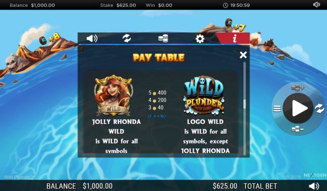Grand Ivy featuring the Video Slots Wild Plunder with a maximum payout of $250,000