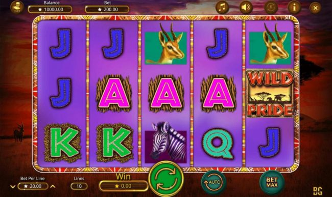 Jellybean Casino featuring the Video Slots Wild Pride with a maximum payout of $100,000