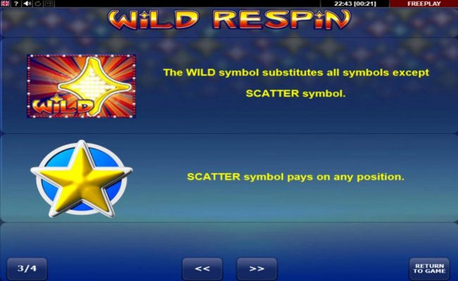 Wild Respin :: Wild and Scatter Symbols Rules and Pays