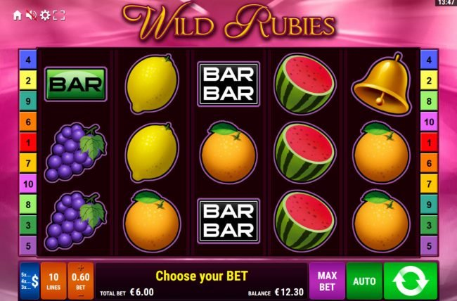 Play slots at Montecryptos: Montecryptos featuring the Video Slots Wild Rubies with a maximum payout of $6,000