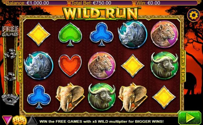 Jackpot Mobile featuring the Video Slots Wild Run with a maximum payout of $20,000