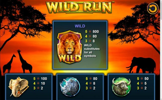 Mega Casino featuring the Video Slots Wild Run with a maximum payout of $20,000
