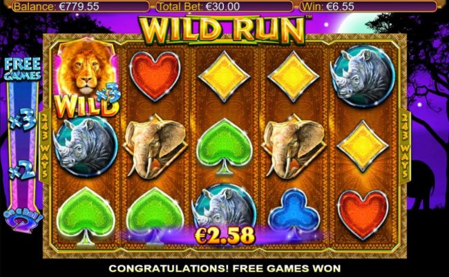 Roxy Palace featuring the Video Slots Wild Run with a maximum payout of $20,000