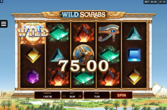 UK Casino Club featuring the Video Slots Wild Scarabs with a maximum payout of $104,000