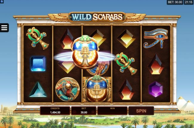 Virtual City featuring the Video Slots Wild Scarabs with a maximum payout of $104,000