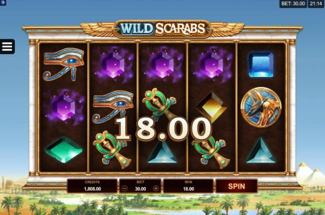 Egypt Slots featuring the Video Slots Wild Scarabs with a maximum payout of $104,000