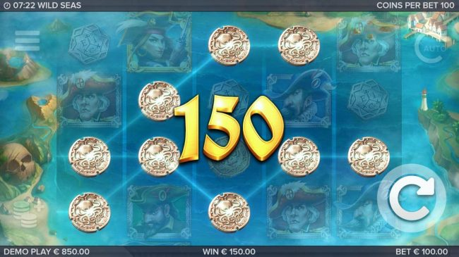 Wild Seas :: Multiple winning paylines triggers a big win