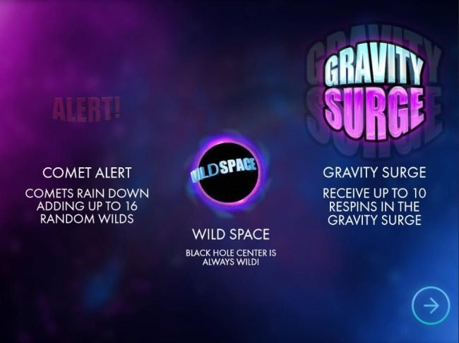Game features include: Comet Alert adding up to 16 random wilds and Gravity Surge awards up to 16 re-spins.