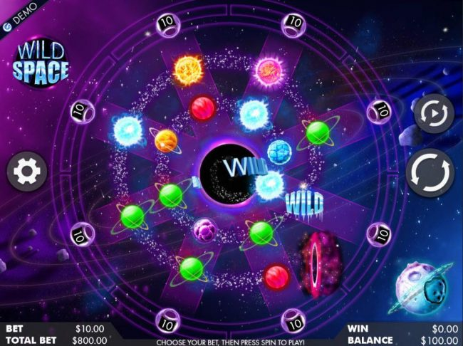 An outer space themed main game board featuring one reel and 8 paylines with a $400,000 max payout