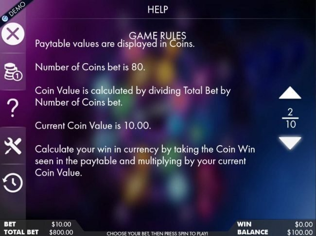 Paytable values are displayed in coins. Number of coins bet is 80.
