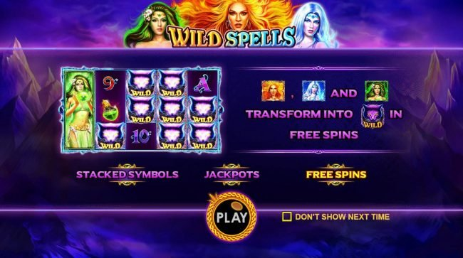 Spiral featuring the Video Slots Wild Spells with a maximum payout of $10,000