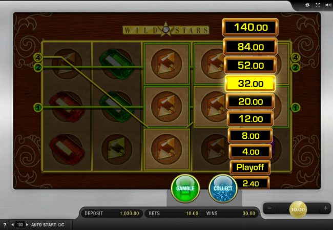 Slot Planet featuring the Video Slots Wild Stars with a maximum payout of $10,000