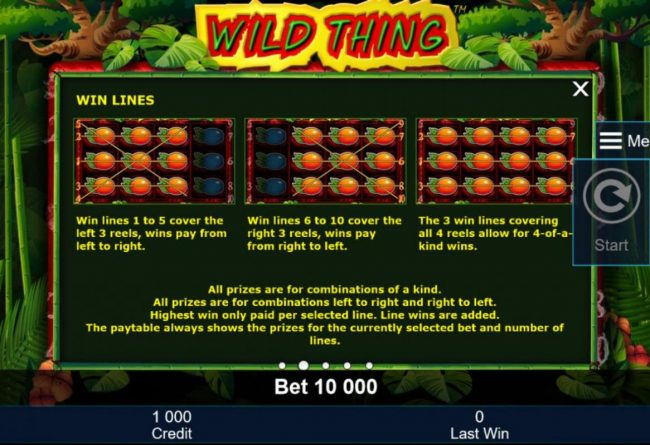 Win lines 1 to 5 cover the left 3 reels, wins pay from left to right. Win lines 6 to 10 cover the right 3 reels, win pay from right to left.