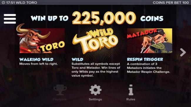 Playgrand featuring the Video Slots Wild Toro with a maximum payout of 225,000x
